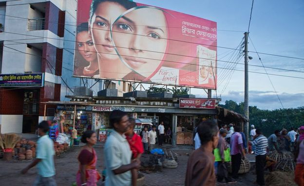 A large billboard advertising skin lightening cream in Jessore, Bangladesh.