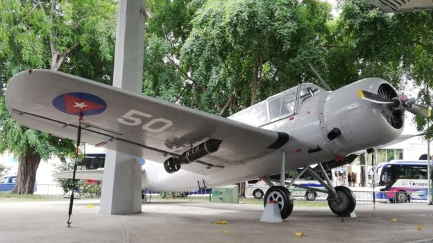 The Vought Kingfisher, which Bascaro said he was flying, on display in the Cuban Museum of the Revolution