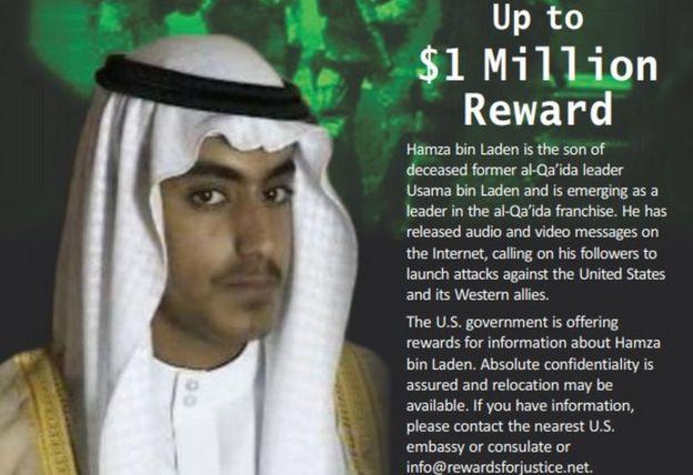 El anuncio de recompensa del Departamento de Estado de EE.UU. por información que conduzca a Hamza bin Laden