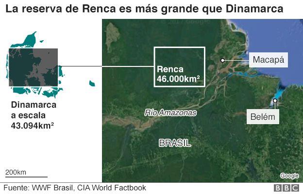 Brasil Renca mapa y gráfico comparativo con Dinamarca a escala
