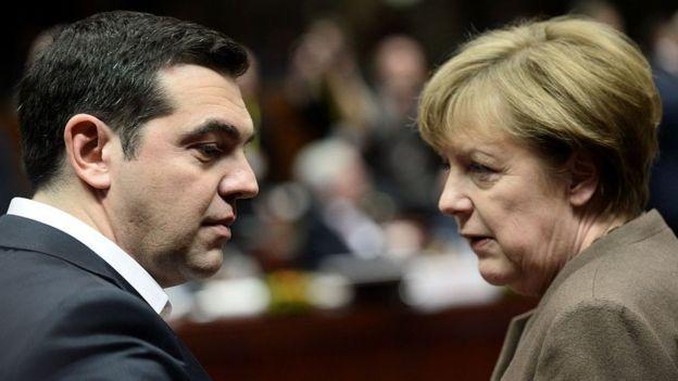 Alexis Tsipras y Angela Merkel