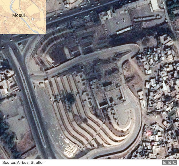 Satellite image showing damage to the Mosque of Prophet Yunus