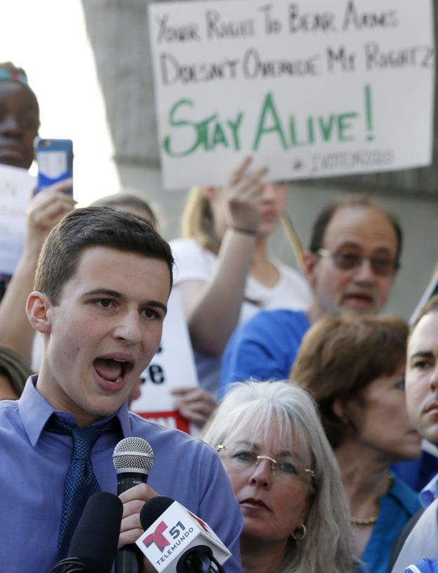Cameron Kasky outside the court in Florida where the shooter was appearing