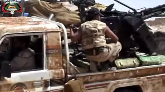 An image of what is thought to be Abdallah on the back of a gun-truck in Libya