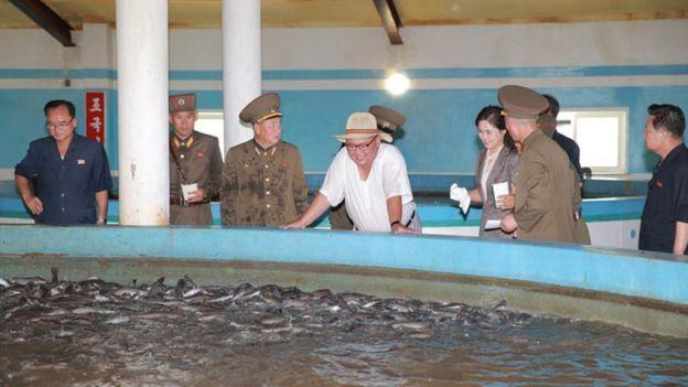 นายคิมและคณะต่างอยู่ในสภาพเปียกปอนที่ฟาร์มเพาะเลี้ยงปลาดุก