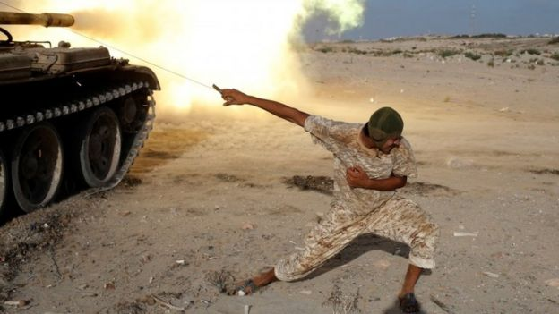 Pro-government fighter in Sirte