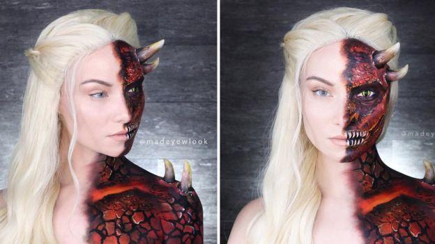 Madeyewlook caracterizada como Daenerys Targaryen y como Drogon.