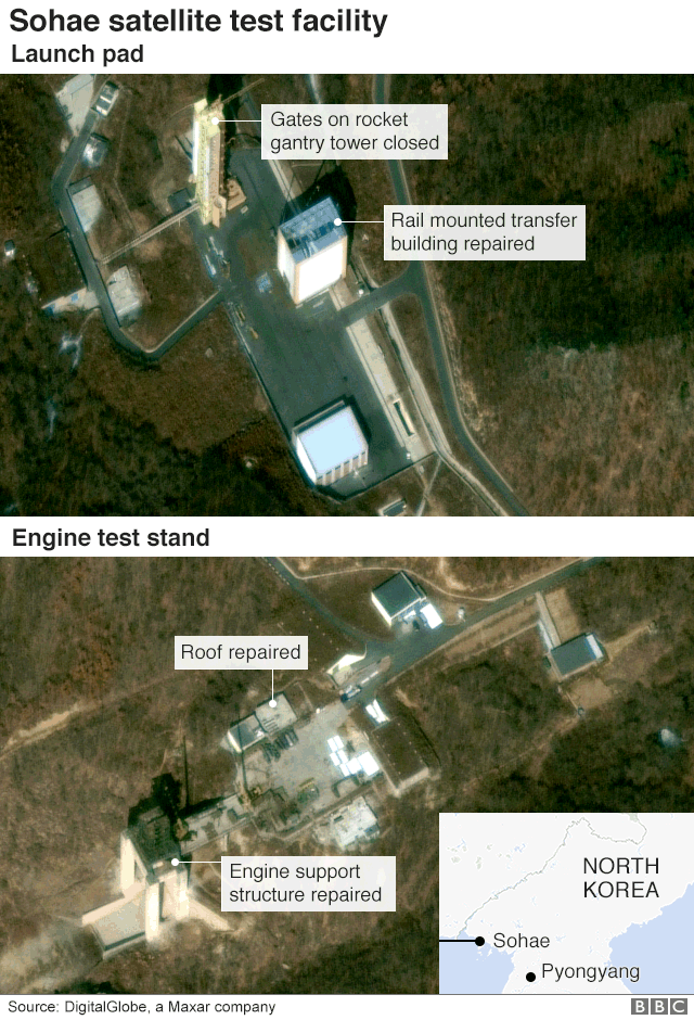 Satellite view of Sohae satellite launch facilty showing repair work to key structures