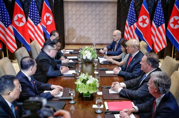 U.S. President Donald Trump meets with North Korean leader Kim Jong Un at the Capella Hotel on Sentosa island in Singapore June 12, 2018. Kevin Lim/The Straits Times