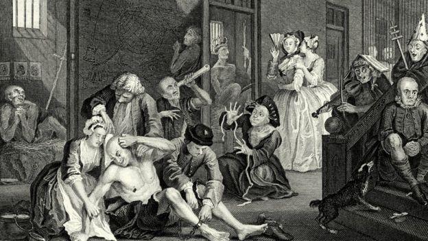 Ilustração de cena de época, mostrando pessoas supostamente loucas