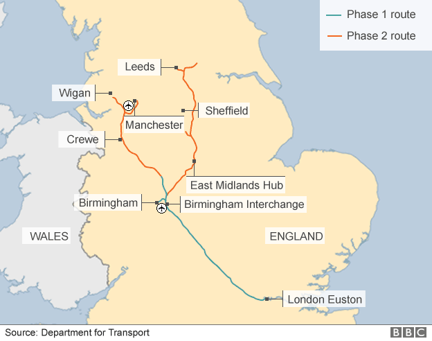 Map showing HS2 route