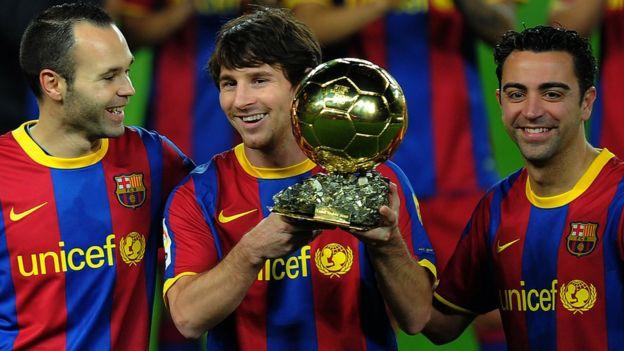 Andrés Iniesta, Lionel Messi y Xavi Hernández