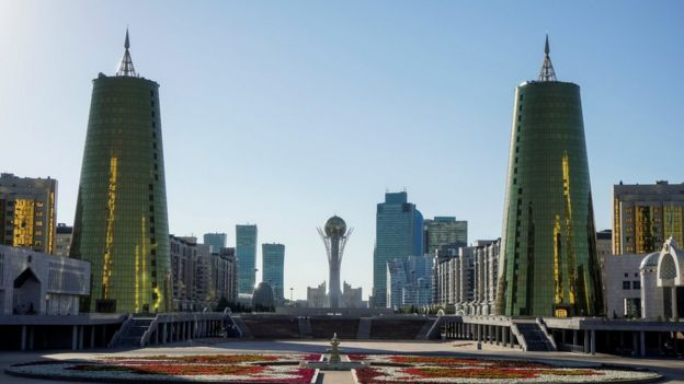 A panoramic view of the monument of Baiterek in Astana, Kazakhstan.