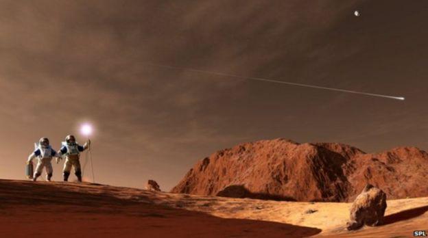 ภาพจากฝีมือศิลปินจำลองการปฏิบัติภารกิจของมนุษย์อวกาศบนดาวอังคาร