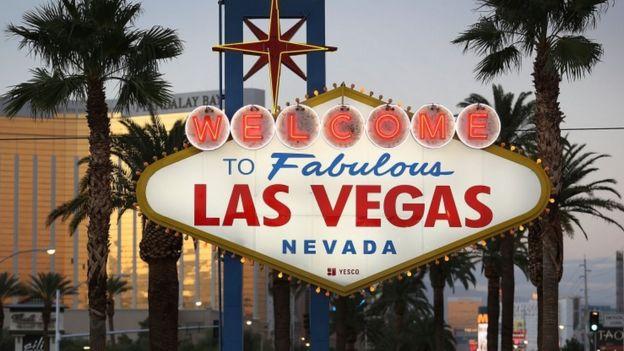 Cartel de bienvenida a Las Vegas.