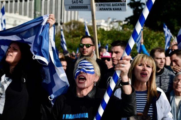 В январе 2018 года тысячи греков протестовали в Афинах против Македонии