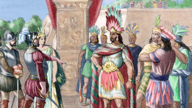 Una ilustración del encuentro entre Moctezuma II, que gobernó Tenochtitlán de 1502 a 1520, y el conquistador español Hernán Cortés.