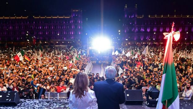 López Obrador y su esposa