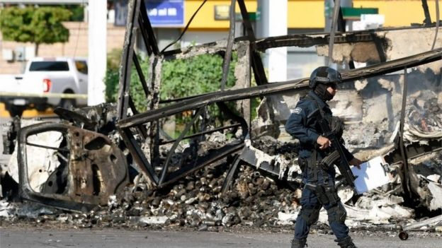 Momentos después de los enfrentamientos entre el cartel de Sinaloa y la policía.