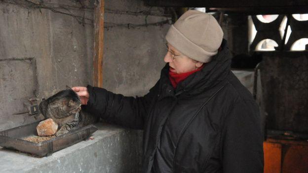 Жінка гладить кота
