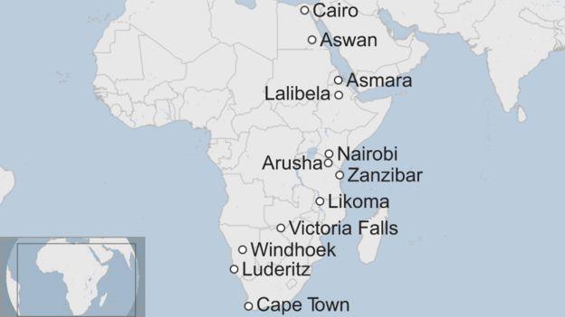Carte des arrêts prévus en route du Cap vers l'Egypte