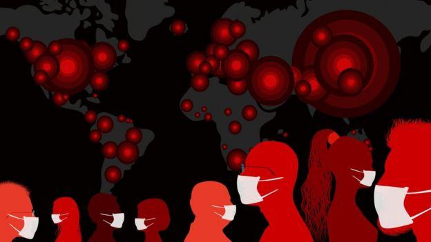 personas con mascarillas y mapa del mundo