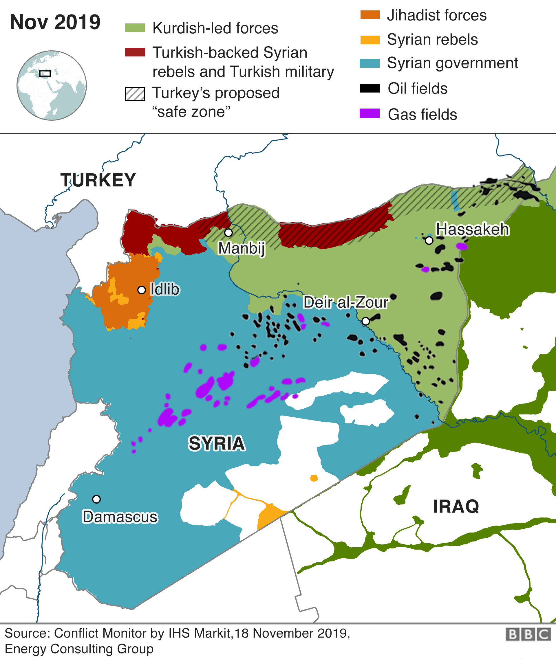 Map of Syria showing oil and gas fields