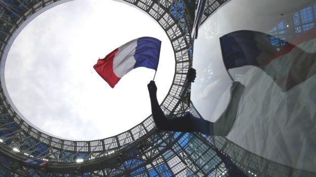 Bandeira da França em estádio na Copa da Rússia