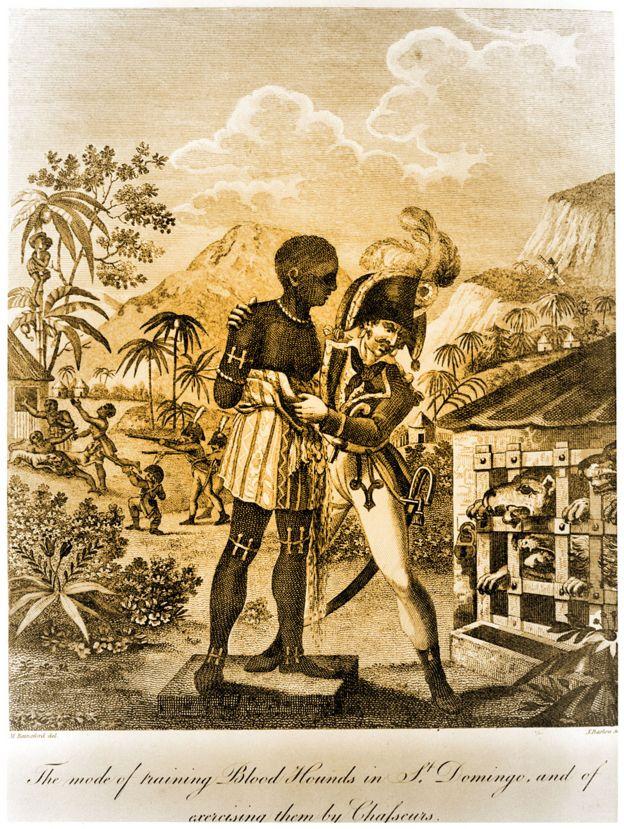 Grabado de un boceto del soldado británico Marcus Rainsford que muestra cómo entrenaban a los sabuesos en Santo Domingo usando esclavos, 1791-1803.