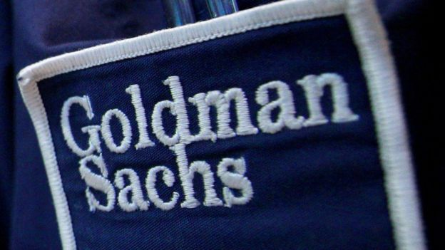 The logo of Dow Jones Industrial Average stock market index listed company Goldman Sachs (GS) is seen on the clothing of a trader working at the Goldman Sachs stall on the floor of the New York Stock Exchange, United States 16 April, 2012.