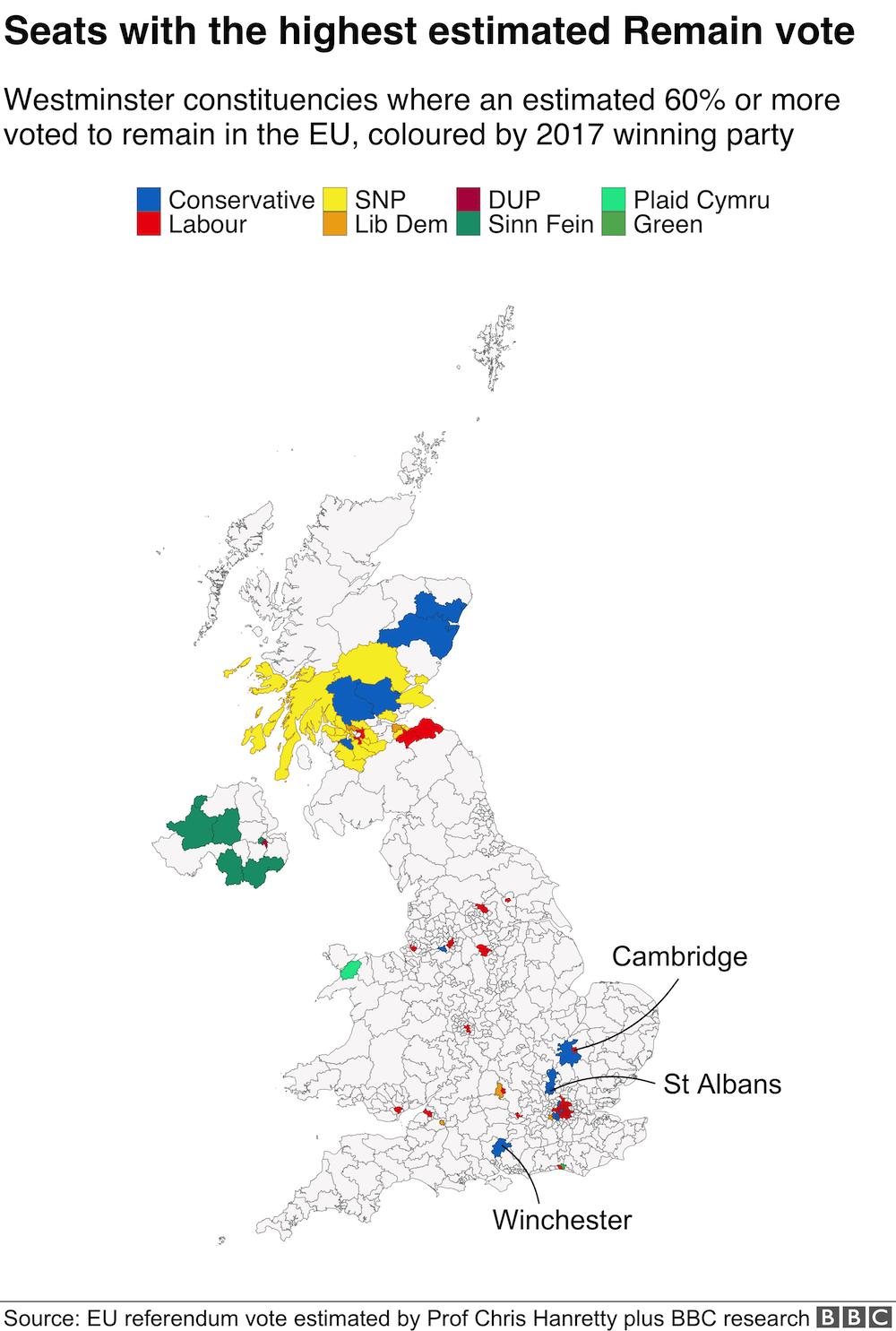 Seats the highest estimate Remain vote