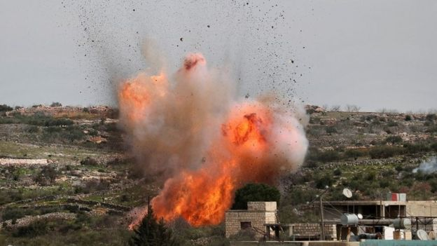 An explosion following what is believed to have been a Russian air strike in Idlib, Syria. Photo: 5 March 2020