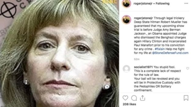 The image of Judge Amy Berman Jackson that Roger Stone posted to Instagram