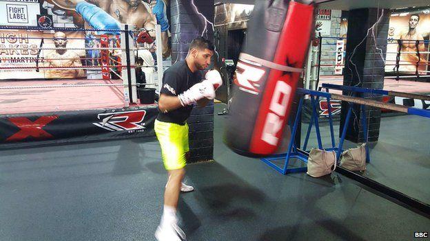 Boxer Amir Khan trains