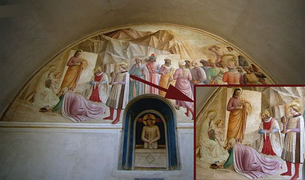 Pintura de Benozzo Gozzoli en la celda de Cosme el Viejo