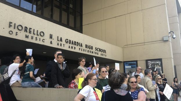 Students and parents protest at LaGuardia High School in New York City