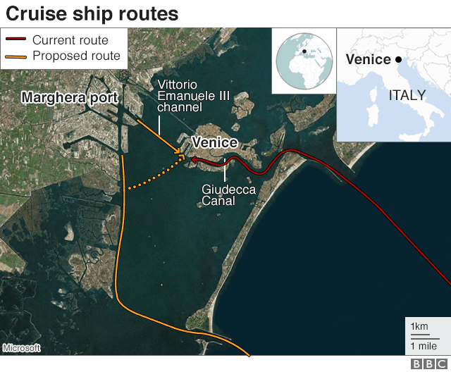 Venice cruise ship routes graphic