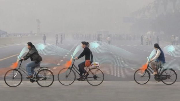 CGI of cyclists in Beijing