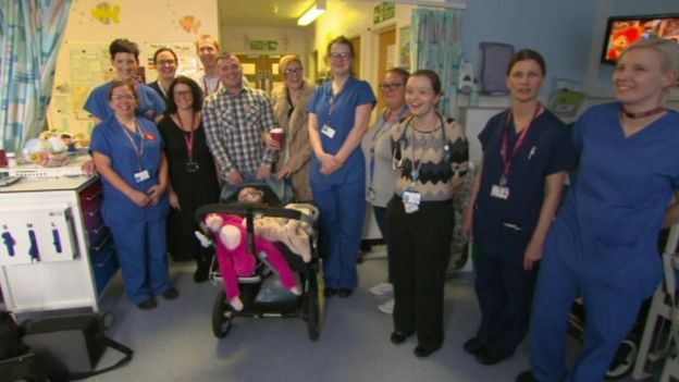 Vanellope Hope Wilkins with staff at Nottingham's Queen Medical Centre