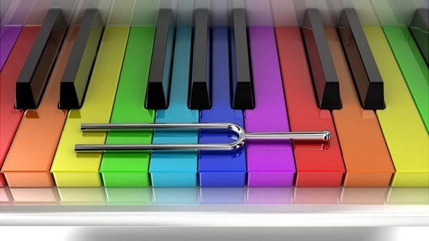 Diapasón sobre teclas de piano.