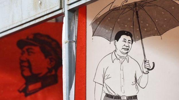 习近平与毛泽东的海报