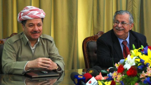 Massoud Barzani and Jalal Talabani at a news conference in Dokan (3 May 2009)