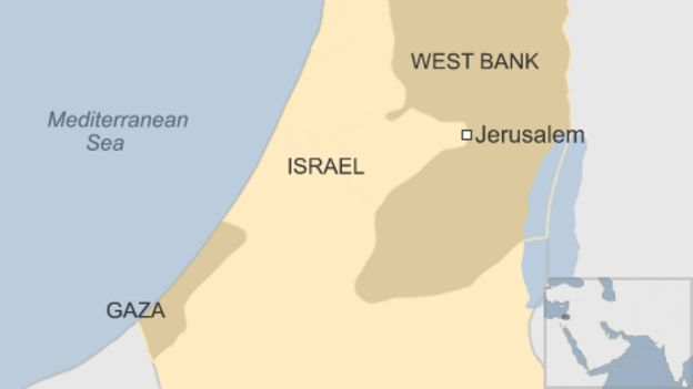 Israel blames iran for gaza border violence bbc news map showing israel gaza and the west bank gumiabroncs Images