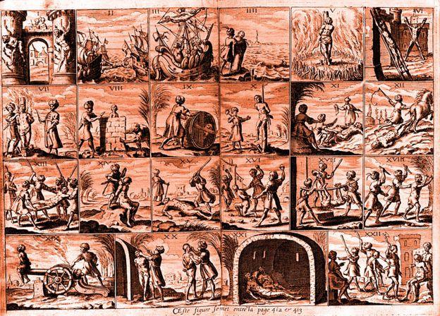 """""""22 torturas diferentes infligidas a esclavos cristianos en los Estados de Berbería del norte de África en el siglo XVII"""". Publicación original: De 'Histoire de Barbarie', publicada en 1637."""