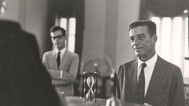 O brigadeiro Francisco Teixeira prestando depoimento em 1965