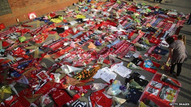 Tribute scarves and shirts outside Walsall FC ground