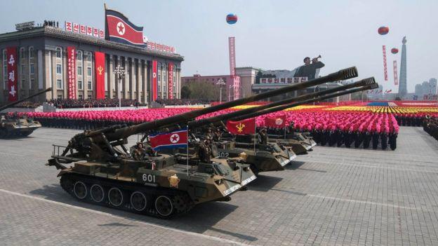 Гаубицы на параде в Пхеньяне