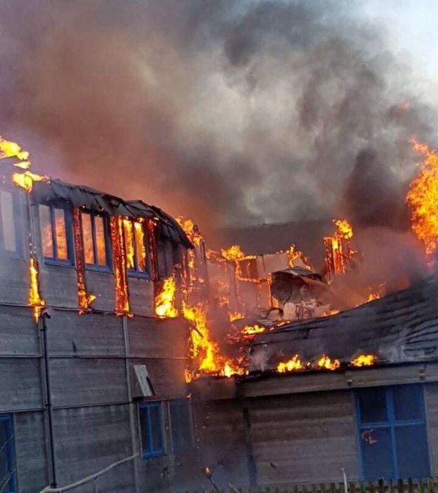 Fair Isle Bird Observatory on fire
