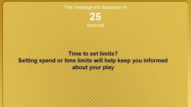 The message that appears during 30 second breaks advising gamblers to set limits