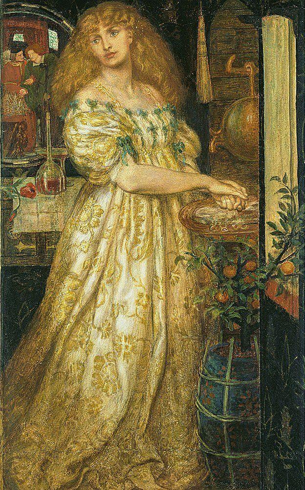 Lucrezia Borgia, 1860-1, Dante Gabriel Rossetti. Grafito y acuarela sobre papel; 43.8 × 25.8 cm © Tate, London.